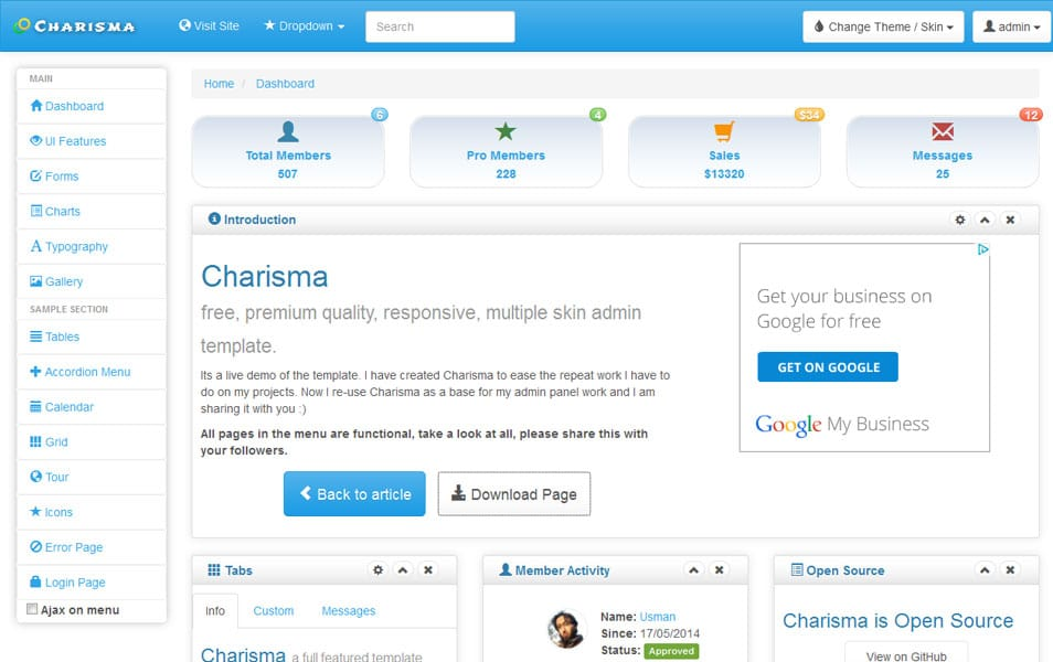Charisma – Free Responsive Multiple Skin Admin Template