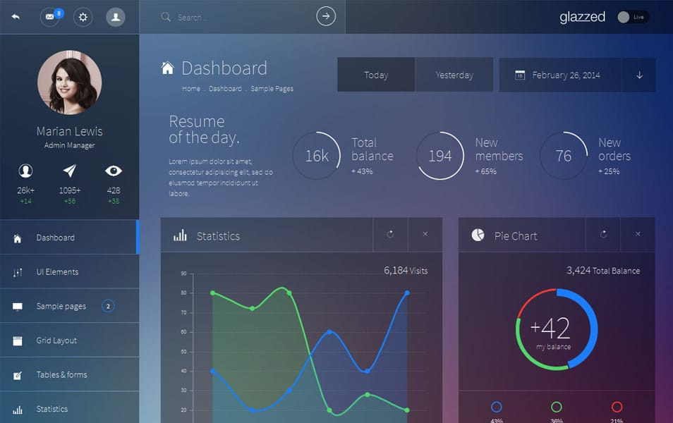 Glazzed HTML5 Admin Template
