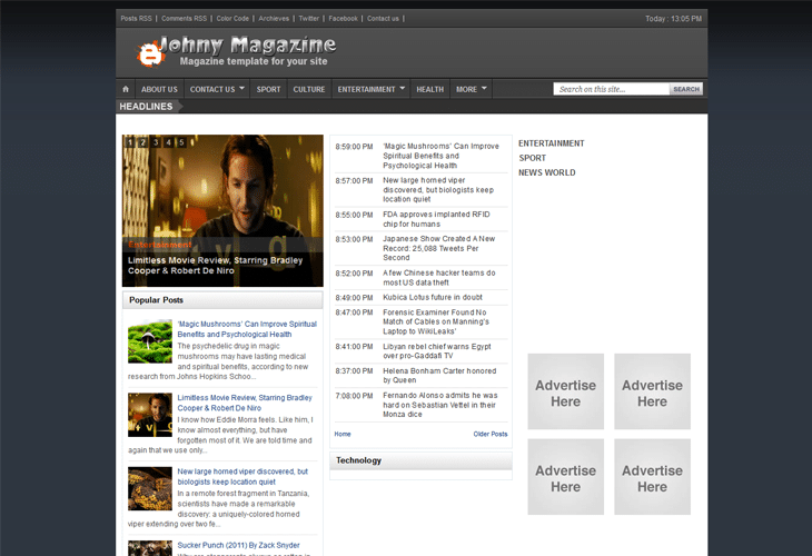 Johny Magazine Blogger Template