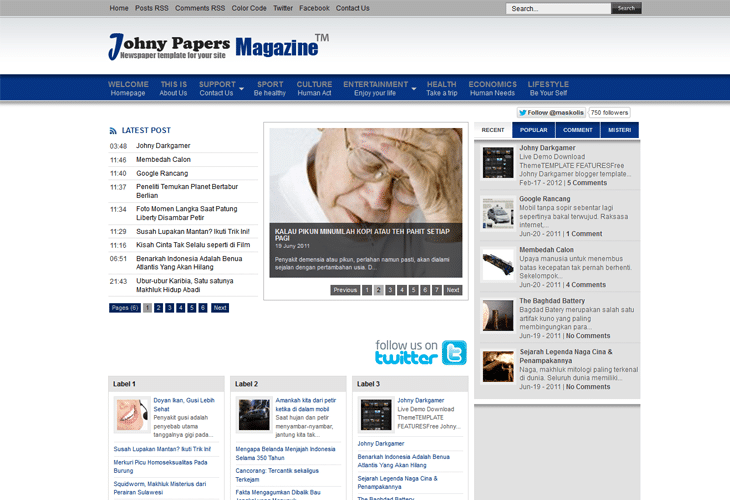 Johny Papers Magazine Template