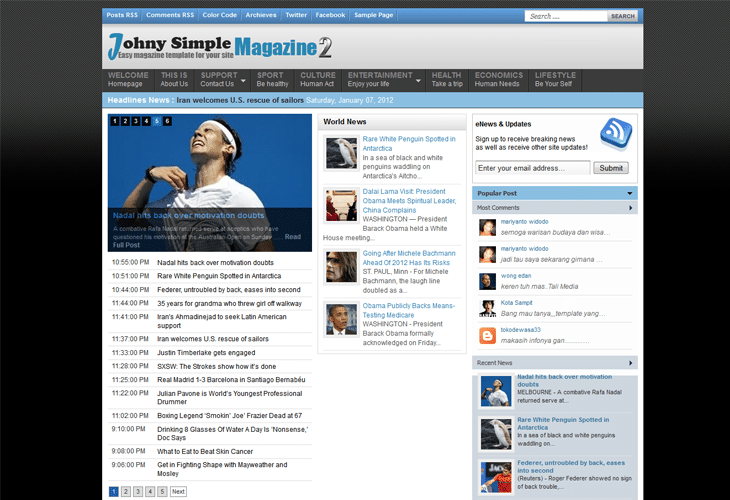 Johny Protal2 Blogger Template