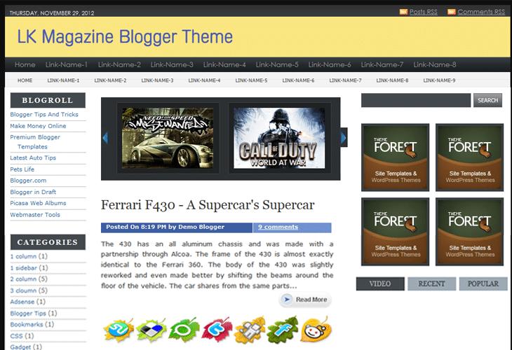 LK Magazine Premium Blogger Template