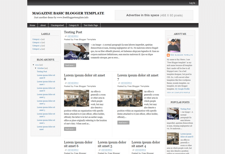 Magazine Basic Blogger Template