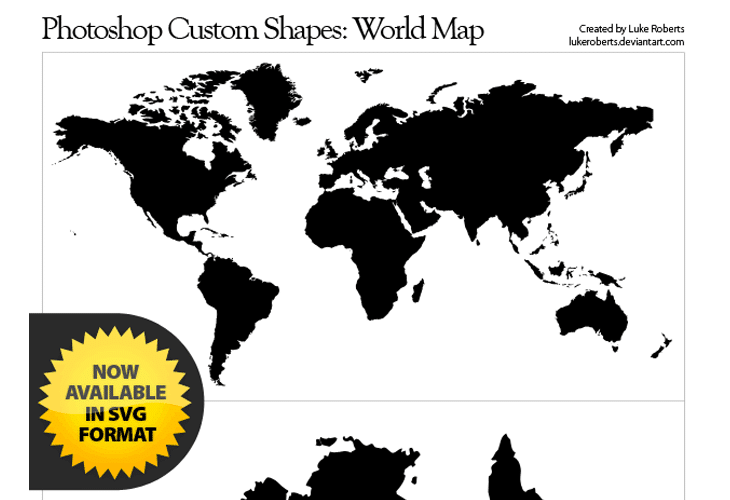 The Huge Collection Of Photoshop Custom Shapes For Beautiful Designs - World map shape