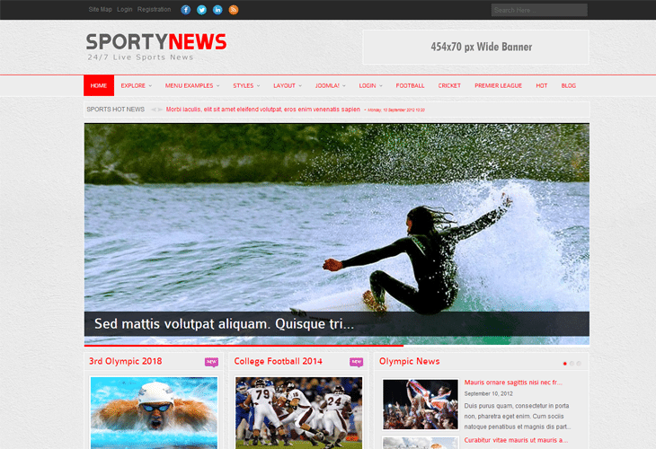 SportyNews Premium Joomla News Template