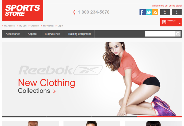 Athletic Store Responsive Magento Theme - cssauthor.com
