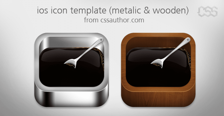 Beautiful ios Apple Icon Template Metalic and Wooden - cssauthor.com