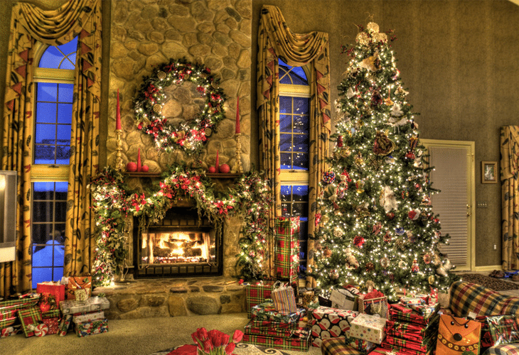 Christmas Family Room HDR