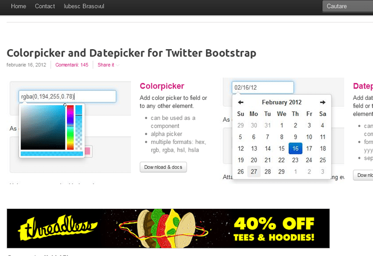 Colorpicker and Datepicker for Twitter Bootstrap