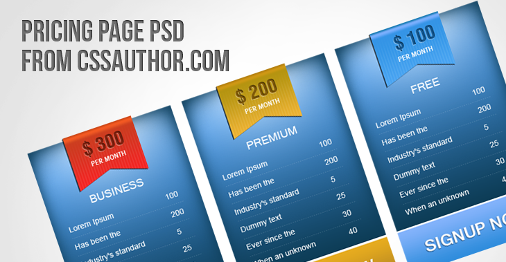 Creative Pricing Page Design for free download - cssauthor.com