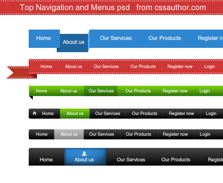 Download Free Top Navigation and Menus PSD - cssauthor.com