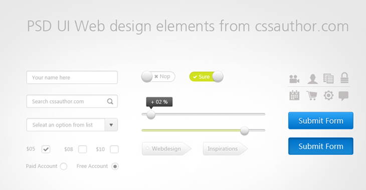 Download Free UI Web Design Elements PSD - cssauthor.com
