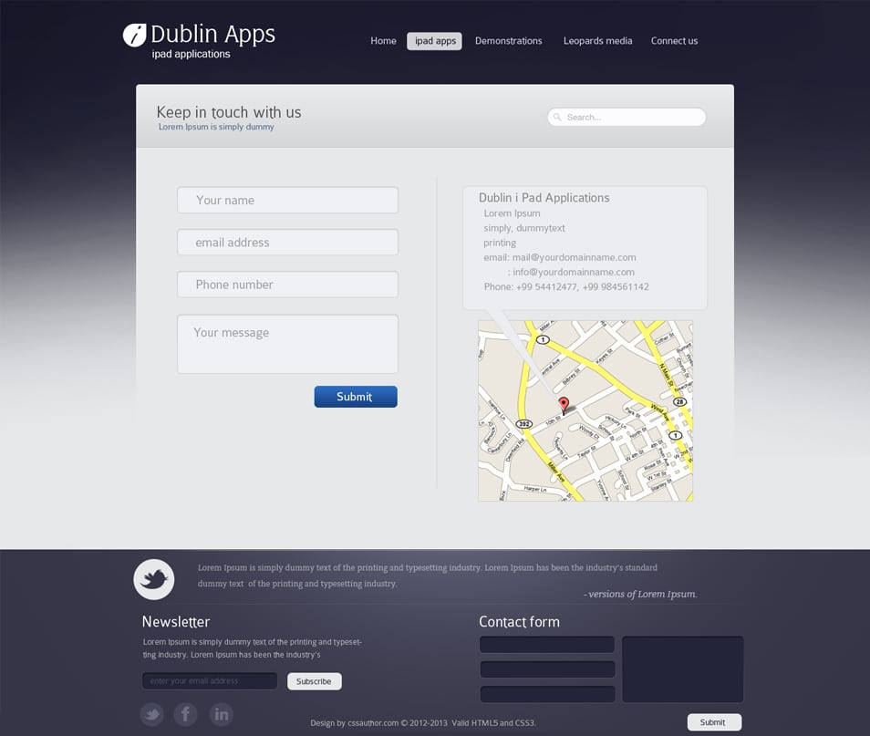 Dublin iPad Apps - Contact Page