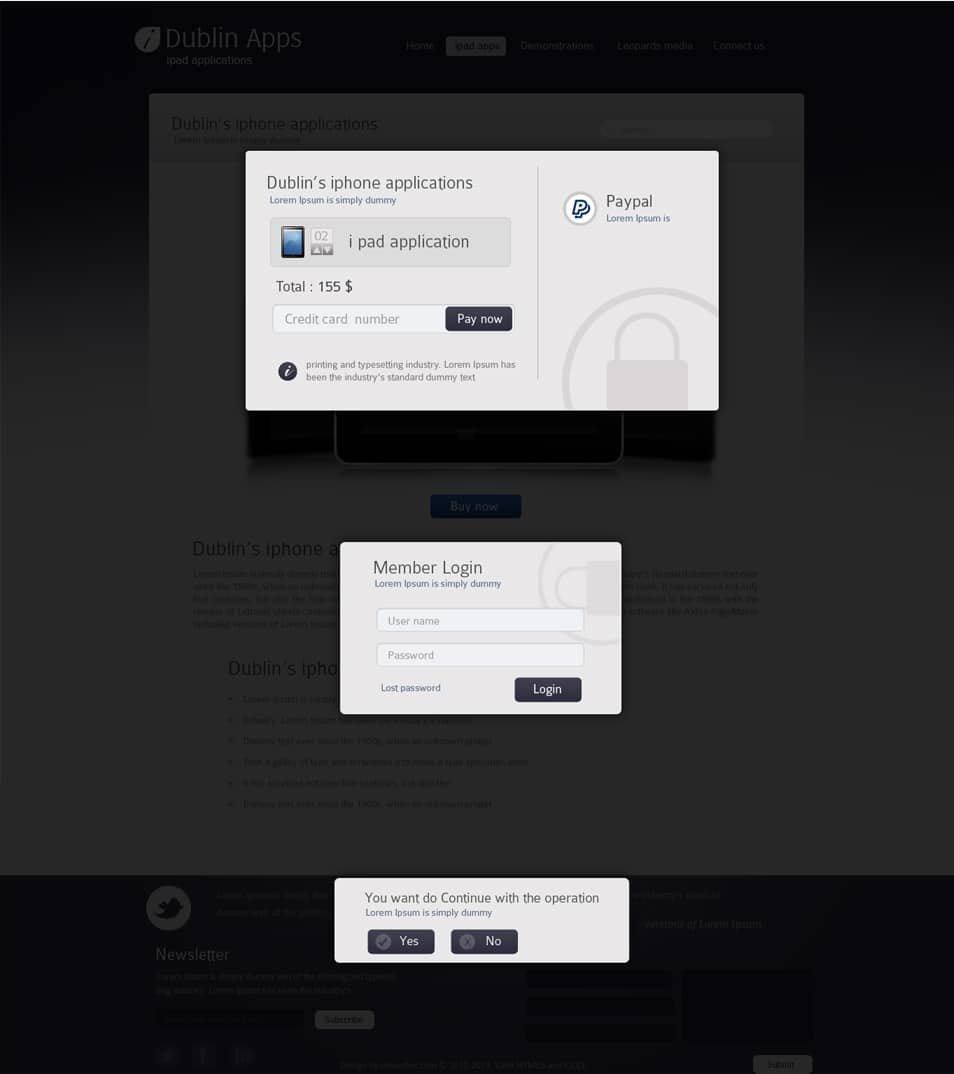 Dublin iPad Apps - Popup Payment Lightbox Confirmation