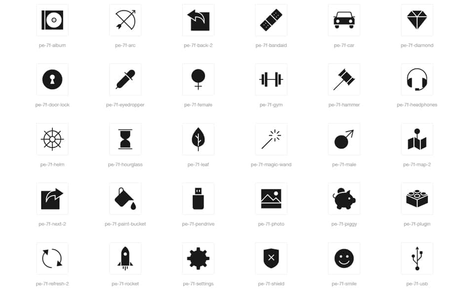 Filled 7 Icon Font Set