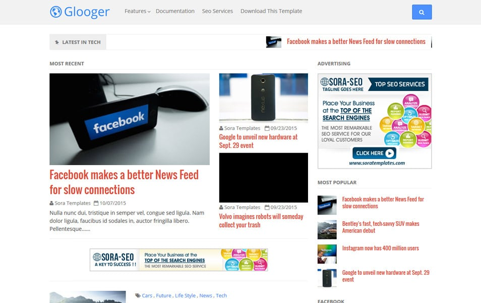Glooger Responsive Blogger Template