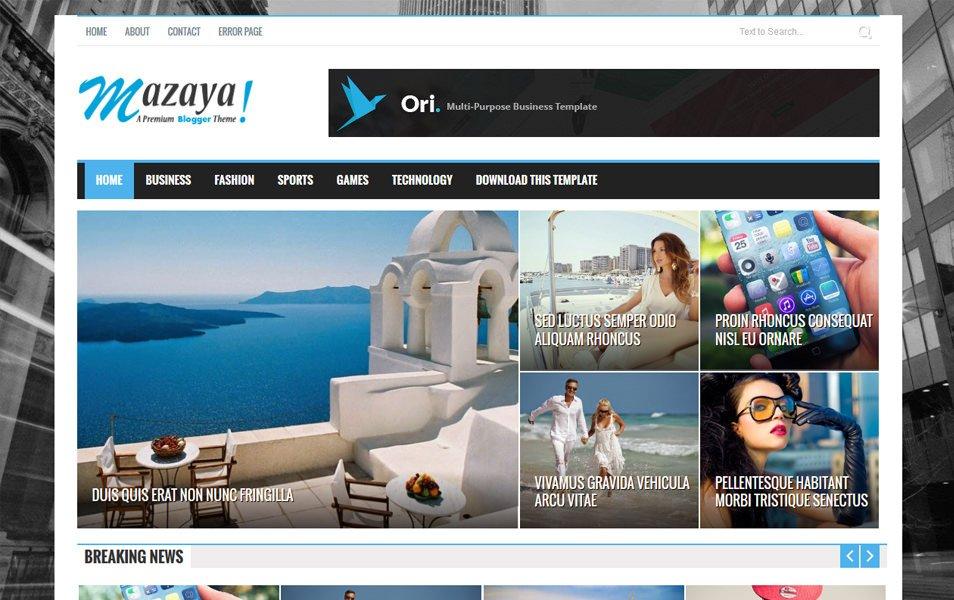 Mazaya Magazine Style Blogger Template