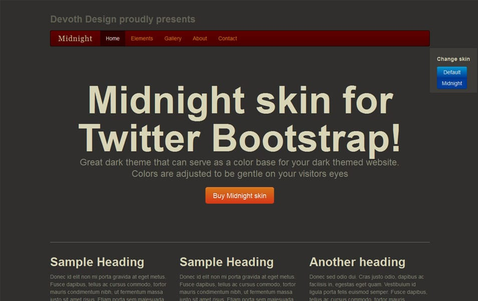 Midnight - responsive skin for Twitter Bootstrap