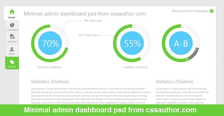 Free Download Minimal Admin Dashboard Psd Freebie No 9