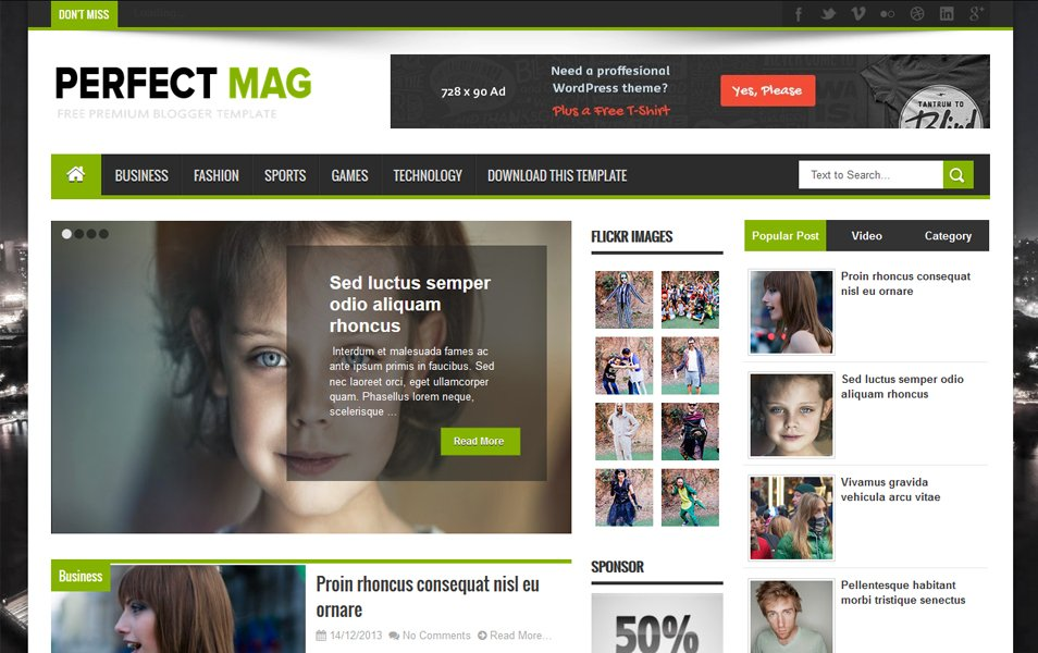 Perfect Mag Responsive Blogger Template
