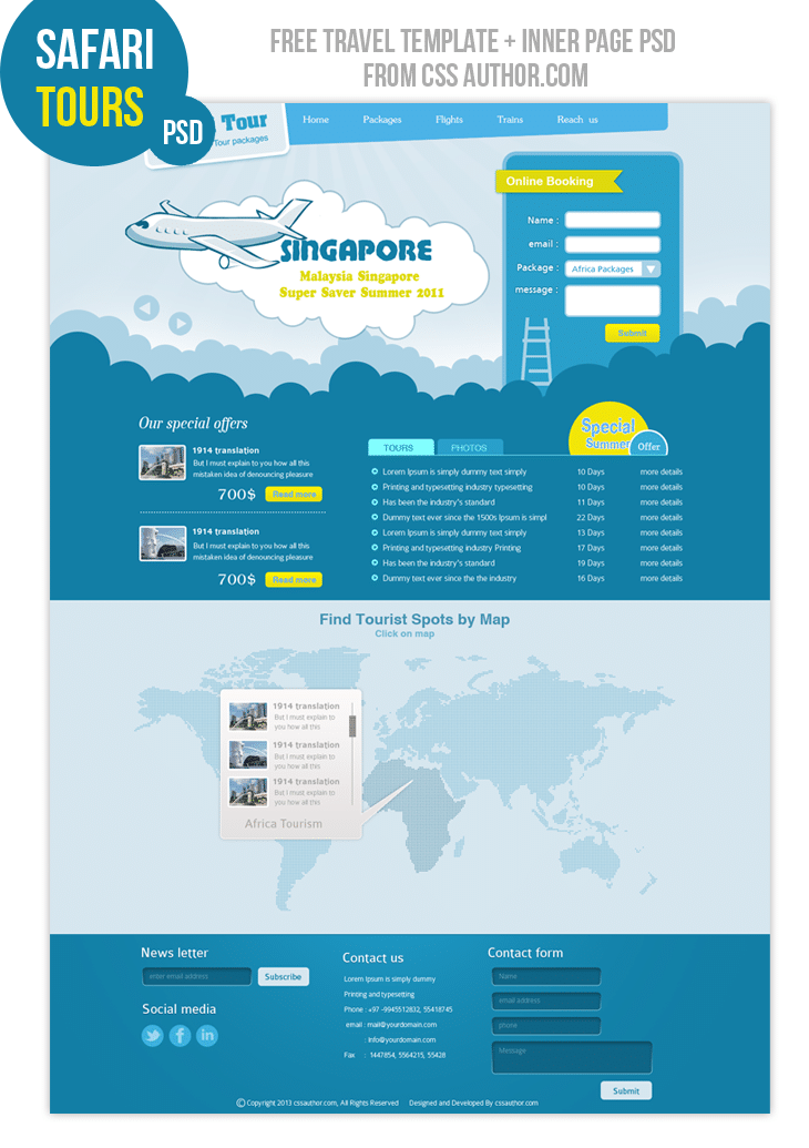 Custom Card Template template design : Premium Travel Web design Template PSD for free - Freebie ...