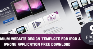 Professional Website Design Template for iPad and iPhone Application » Freebie No: 19