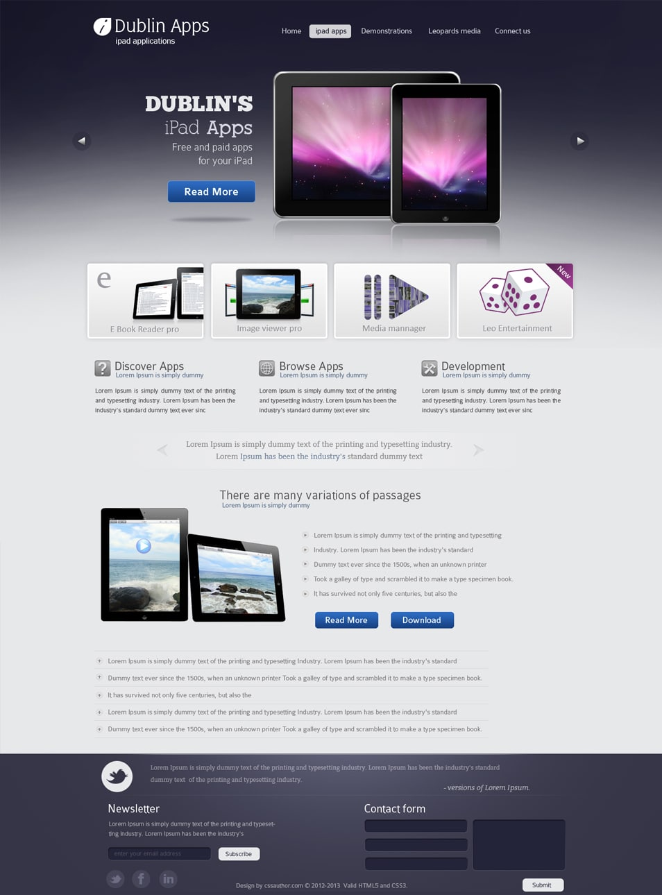 Professional Website Design Template for iPad and iPhone Applications