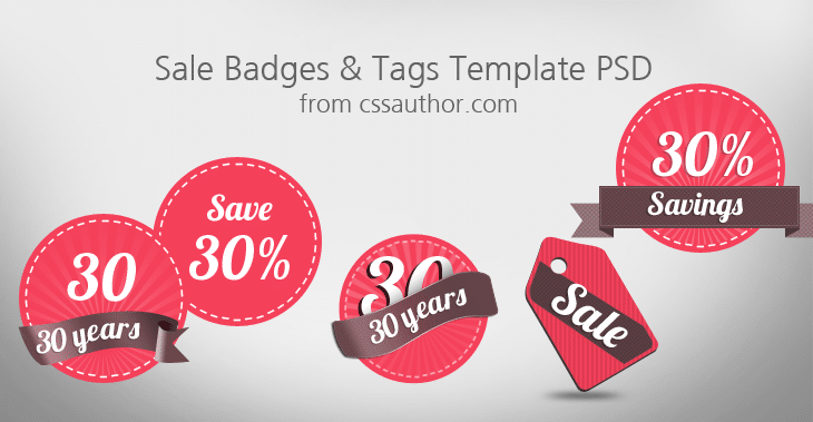 Sale Badges and Tags Template PSD - cssauthor.com
