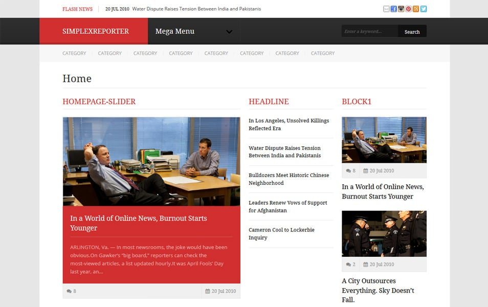 Simplex Reporter Responsive Magazine Blogger Template