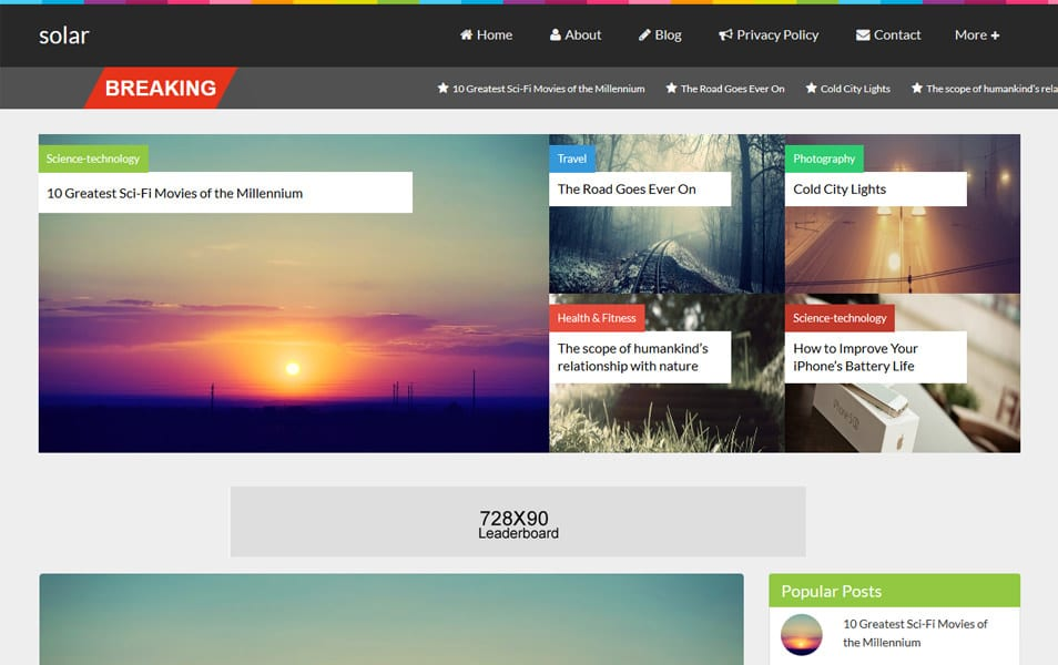 Solar Magazine Style Responsive Blogger Template