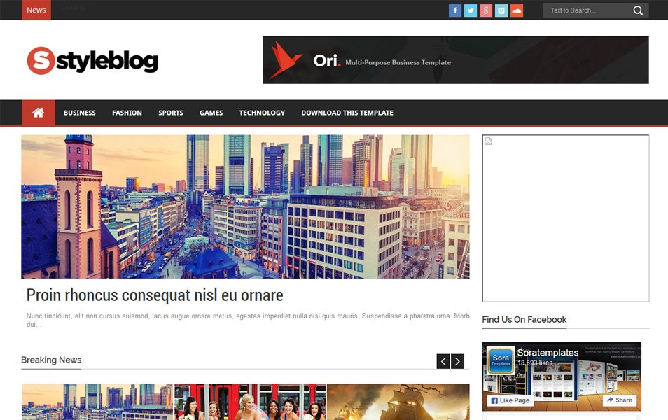 Style Blog Magazine News Blogger Template