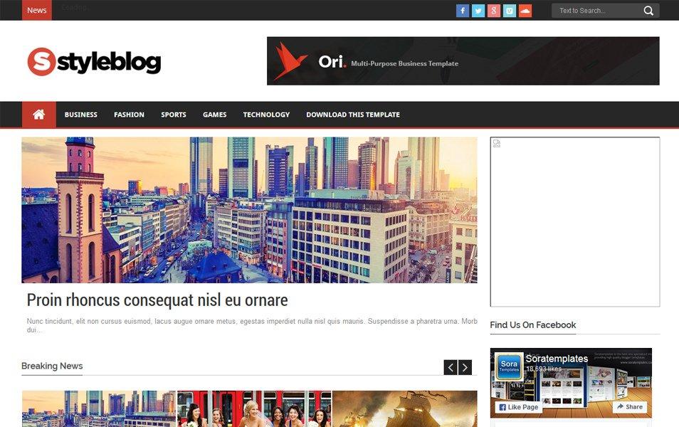 Style Blog Magazine News Blogger Template