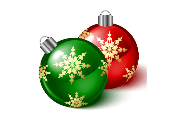 Vector Snowflakes and Colorful Christmas Balls