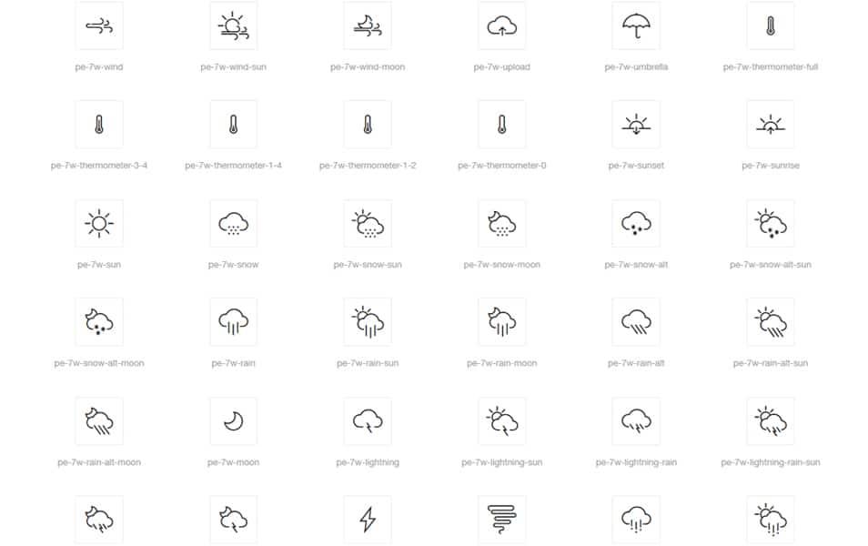 Weather 7 Icon Font Set