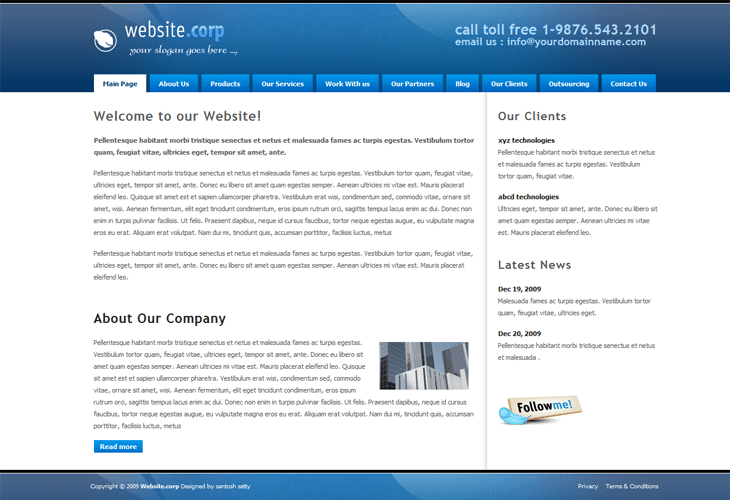 Website Corp Drupal 6 Template