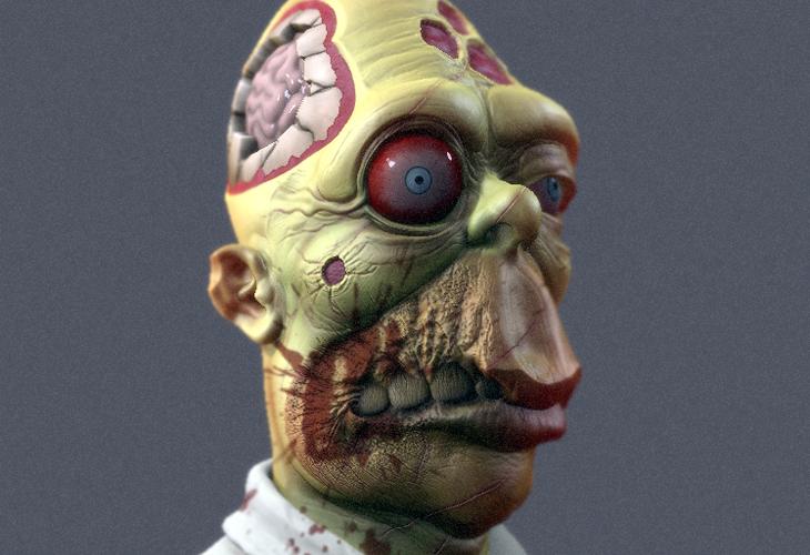 Zombie Homer Simpson 3D - cssauthor.com