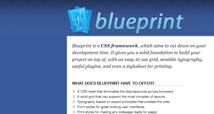Tools and resources to speed up your web design workflow blueprint is a css framework which aims to cut down on your development time it gives you a solid foundation to build your project on top of malvernweather Images