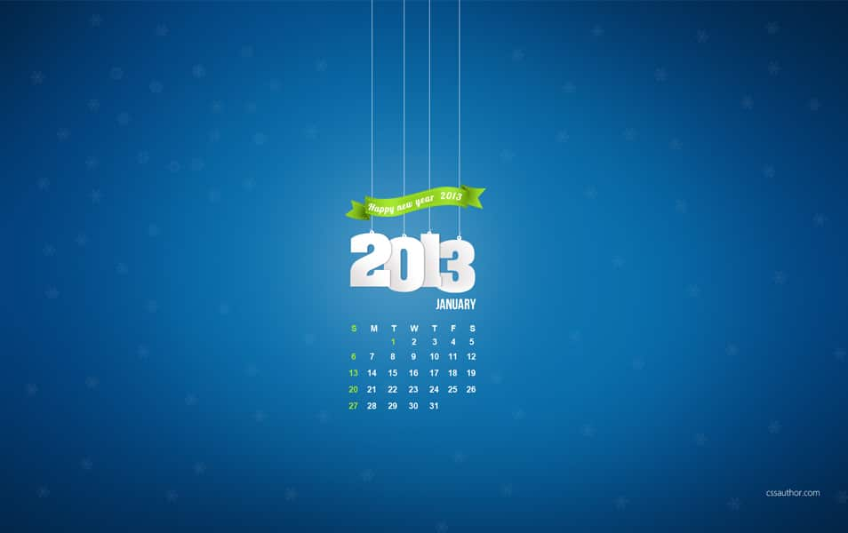 2013 January Calendar Wallpaper