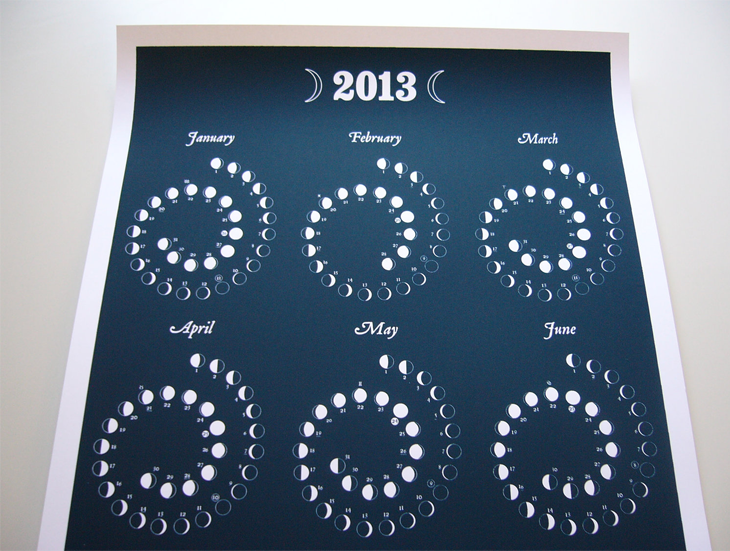 2013 Moon Calendar in NIGHT SKY