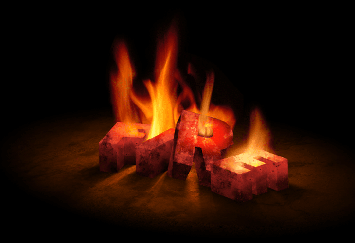 3D Text On Fire