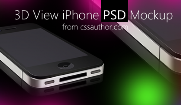 3D View iPhone PSD Mockup for Free Download - cssauthor.com