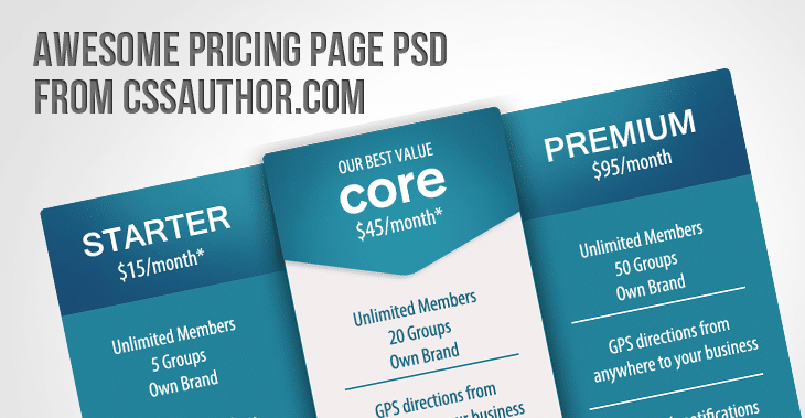 Awesome Pricing Page PSD for Free Download - cssauthor.com