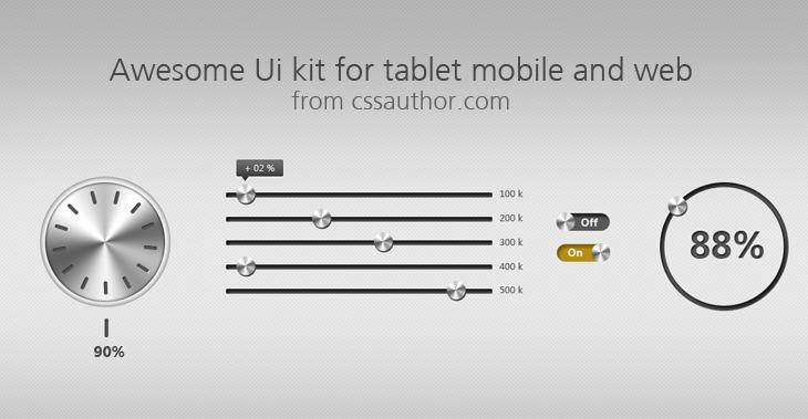 Premium Awesome UI Kit for Tablet, Mobile and Web PSD - cssauthor.com
