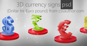 Beautiful Premium 3D Currency Signs PSD (Dollar, Inr, Euro, pound) for Free Download – Freebie No: 38