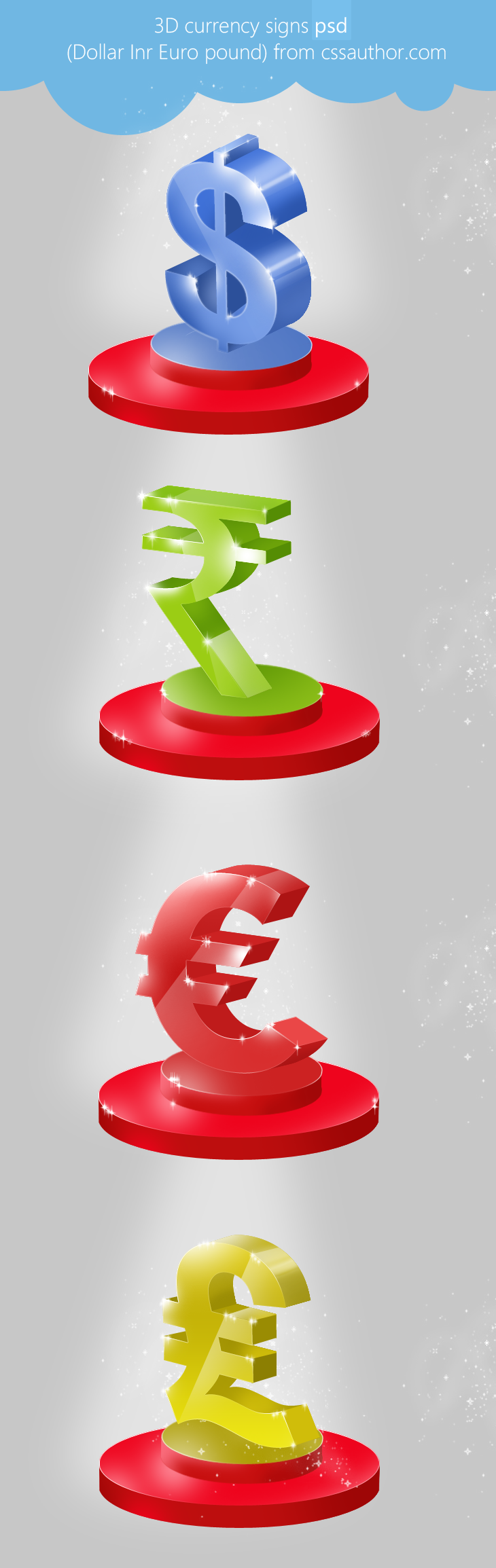 Beautiful 3D Currency Signs PSD for Free Download - cssauthor.com
