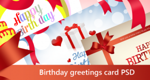 Beautiful Birthday Greetings Card PSD for Free Download – Freebie No: 27