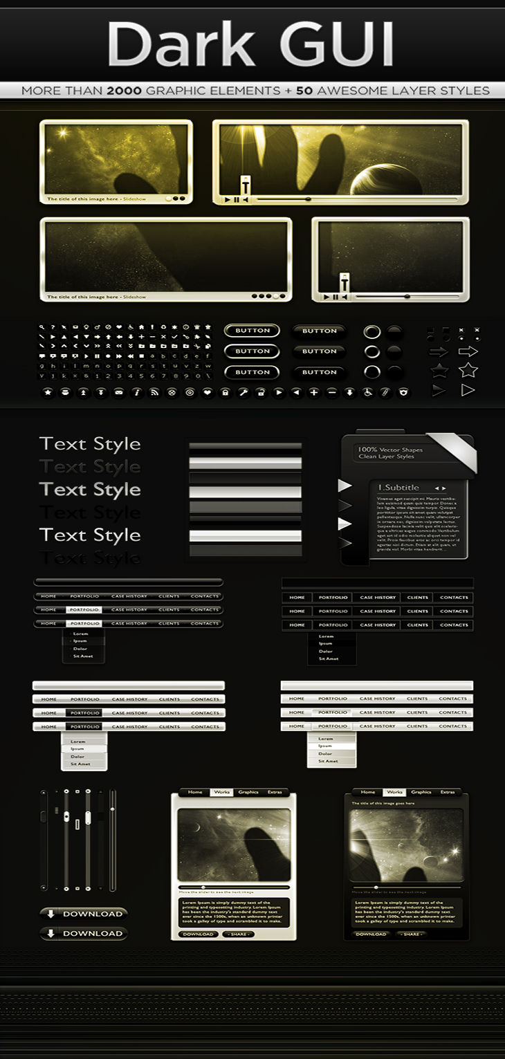 Dark Web GUI PSD Interface Kit