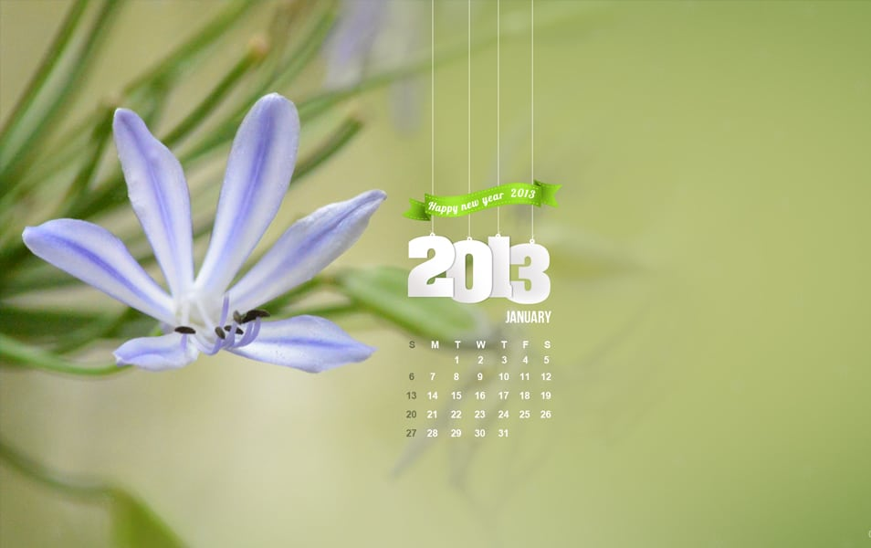 january 2013 desktop calendar wallpaper with psd for free