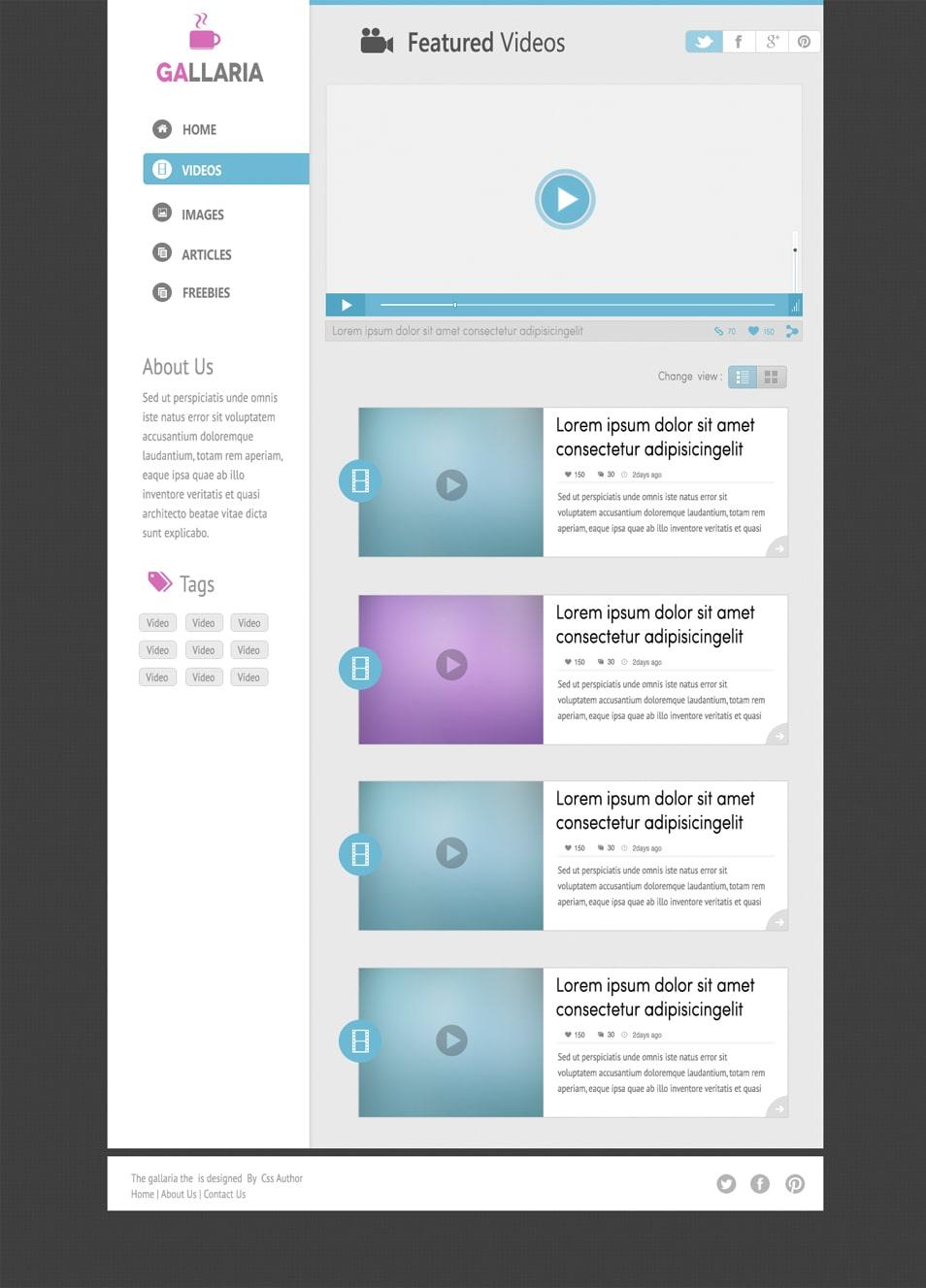 Gallaria Free Blog Template Design PSD