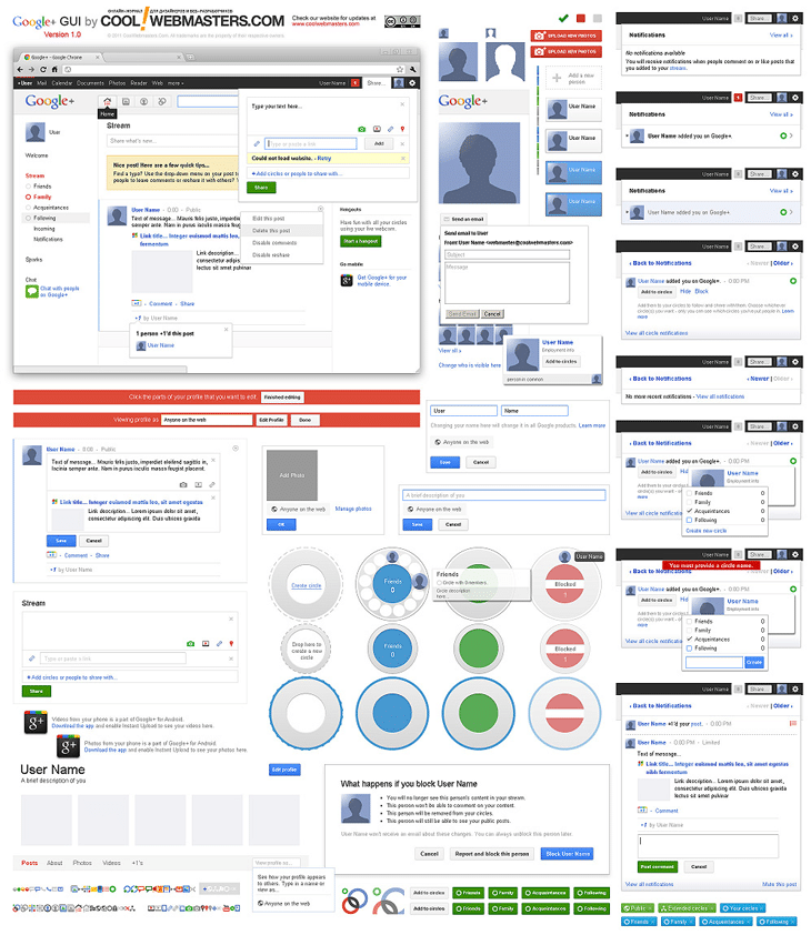 Google+ GUI PSD Kit